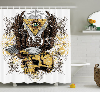 American Eagle on Skull Shower Curtain