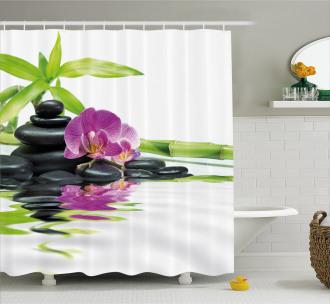 Zen Purple Orchid Bamboos Shower Curtain