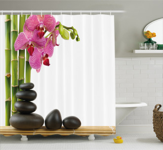 Pink Orchid and Bamboos Shower Curtain