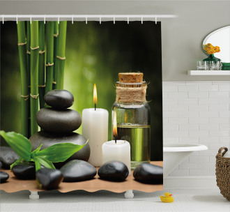 Hot Rocks Candles Bamboos Shower Curtain