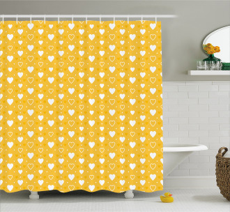Heart Shapes and Dots Shower Curtain