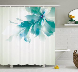 Blue Ombre Flowers Shower Curtain