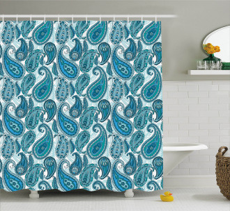 Ocean Stripe and Flower Shower Curtain