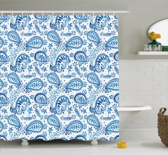 Sketch Flower and Flake Shower Curtain