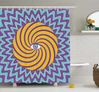 Color Hypnotic Circles Shower Curtain