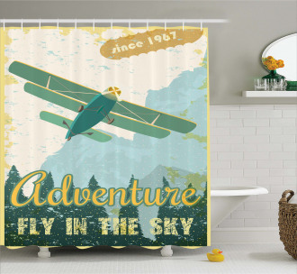Adventure in Sky Plane Shower Curtain