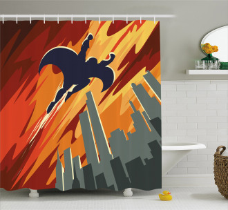 Flying Superhero Shower Curtain