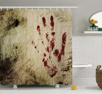 Bloddy Dirty Hand Shower Curtain
