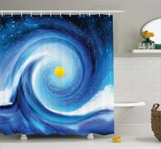 Surfer Wavy Sun Shower Curtain