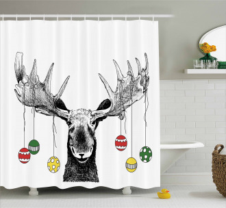 Sketchy Noel Ornament Shower Curtain