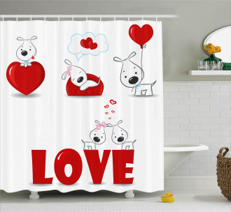 Puppy His Hers Shower Curtain
