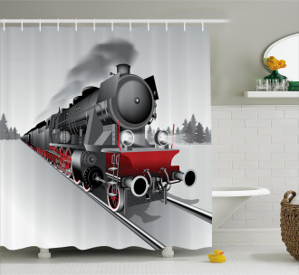 Railway Train Art Shower Curtain