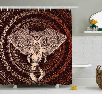 Oriental Elephant Head Shower Curtain