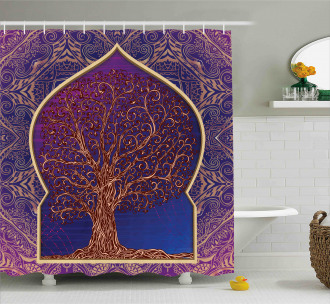 Retro Eastern Branches Shower Curtain
