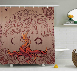 Charming Vintage Tree Shower Curtain