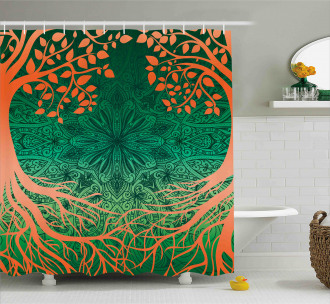 Asian Mandala Symbols Shower Curtain