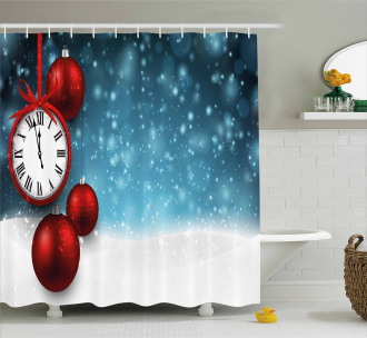 Vintage New Year Balls Shower Curtain