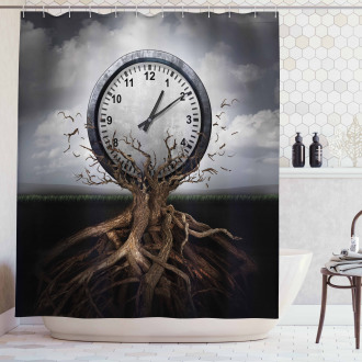 Clock Surrealist Symbol Shower Curtain