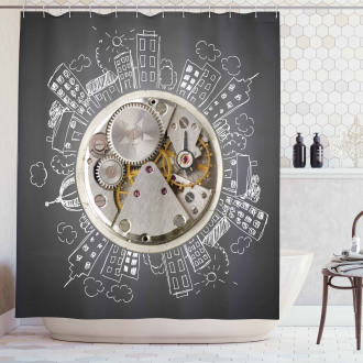 Time Alarm Building Cloud Shower Curtain