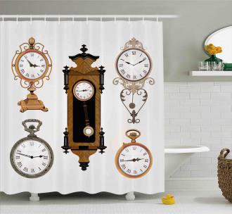 Antique Clocks Pattern Shower Curtain