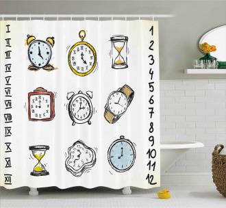 Hand Drawn Vintage Clock Shower Curtain
