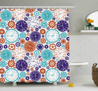 Clock with Roman Digits Shower Curtain