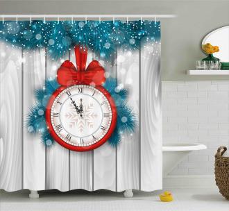 Midnight Clock Pine Shower Curtain