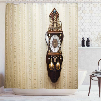 Wood Wall Carving Clock Shower Curtain