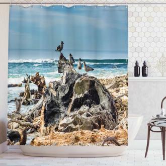 Driftwood Shore Seagull Shower Curtain