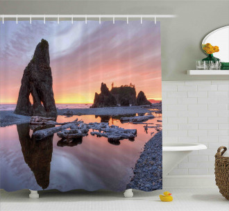 Sunset Sea Stacks Beach Shower Curtain