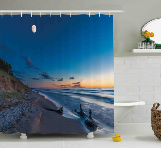 The Moon in the Sky Lake Shower Curtain