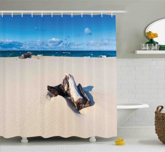 Sandy Sea Shore Digital Shower Curtain