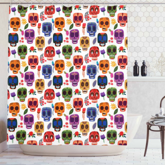 Tribal Scary Mask Shower Curtain