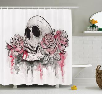 Skull Head Roses Shower Curtain