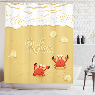 Card with Cute Crabs Sea Shower Curtain