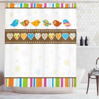 Birds Hearts Stripes Shower Curtain
