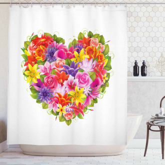Flower Rose Leaf Shower Curtain