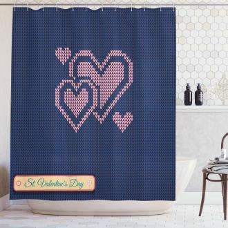 Digital Knit Hearts Shower Curtain