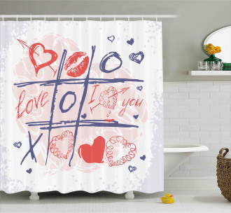 Xoxo Game with Lips Shower Curtain