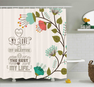 Flower with Leaf Shower Curtain
