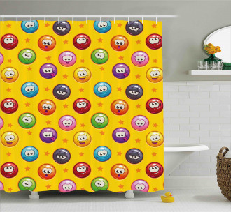 Grumpy Sad Mood Face Mood Shower Curtain