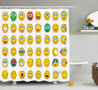 Couple Monster Face Moods Shower Curtain