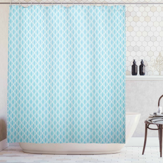 Wavy Water Lines Circled Shower Curtain