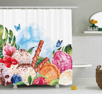 Dessert and Flower Art Shower Curtain
