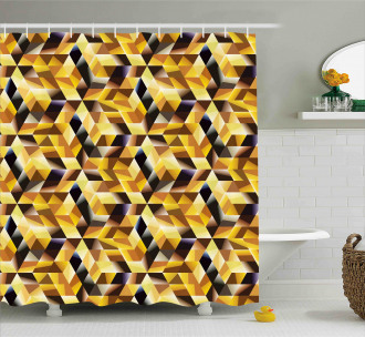 Graphic Cubes Blocks Shower Curtain