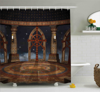 Fantasy Temple in Sky Shower Curtain