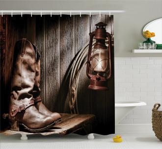 Vintage Cowboys Bench Shower Curtain