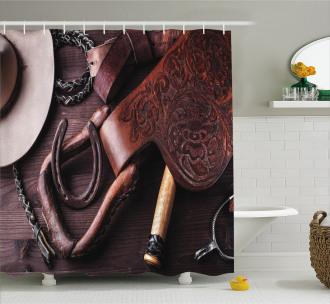 Kitsch Rural Themed Shower Curtain