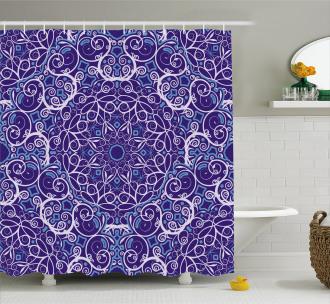 Bohemian Floral Circle Shower Curtain
