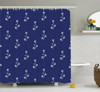 Floral Pattern and Dot Shower Curtain